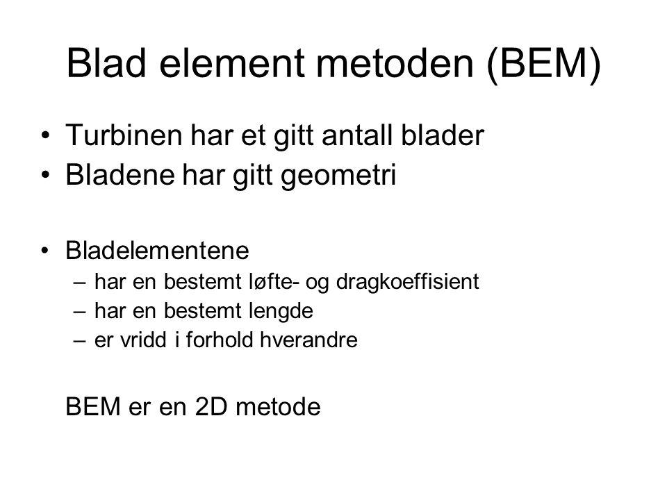 Blad element metoden (BEM) Turbinen har et gitt antall blader Bladene har gitt geometri Bladelementene –har en bestemt løfte- og dragkoeffisient –har en bestemt lengde –er vridd i forhold hverandre BEM er en 2D metode