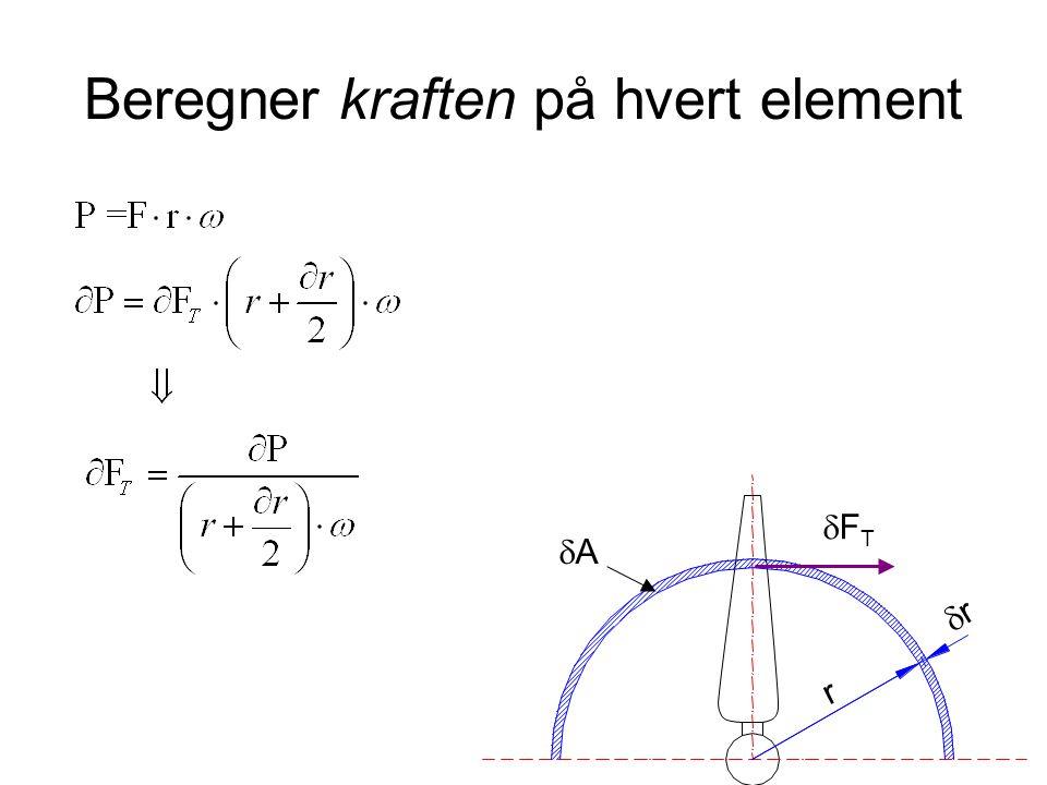 Beregner kraften på hvert element r rr AA FTFT