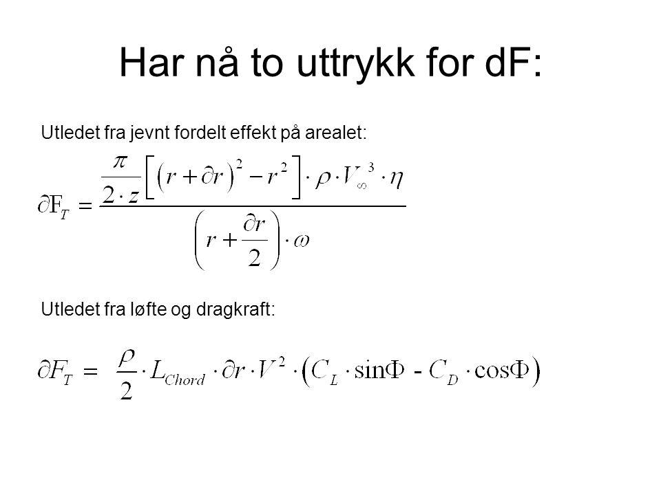 Har nå to uttrykk for dF: Utledet fra jevnt fordelt effekt på arealet: Utledet fra løfte og dragkraft: