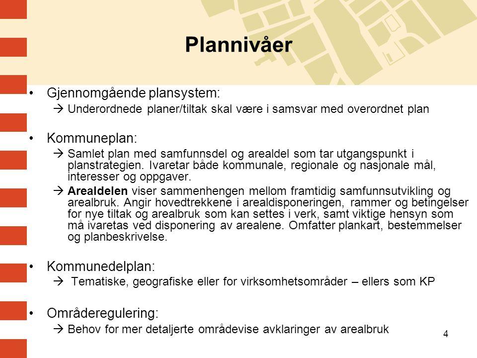 4 Plannivåer Gjennomgående plansystem:  Underordnede planer/tiltak skal være i samsvar med overordnet plan Kommuneplan:  Samlet plan med samfunnsdel og arealdel som tar utgangspunkt i planstrategien.