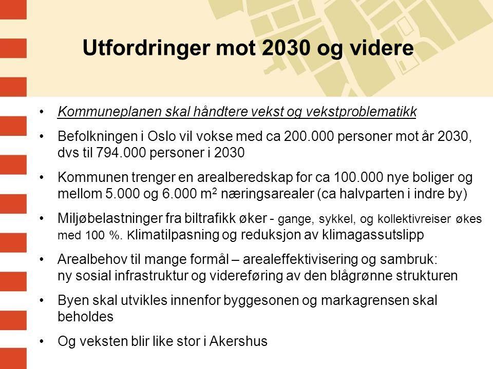 Utfordringer mot 2030 og videre Kommuneplanen skal håndtere vekst og vekstproblematikk Befolkningen i Oslo vil vokse med ca 200.000 personer mot år 2030, dvs til 794.000 personer i 2030 Kommunen trenger en arealberedskap for ca 100.000 nye boliger og mellom 5.000 og 6.000 m 2 næringsarealer (ca halvparten i indre by) Miljøbelastninger fra biltrafikk øker - gange, sykkel, og kollektivreiser økes med 100 %.