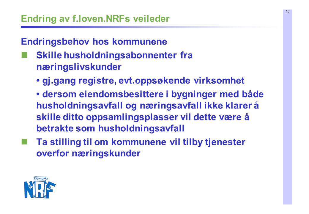 10 Endring av f.loven.NRFs veileder Endringsbehov hos kommunene Skille husholdningsabonnenter fra næringslivskunder gj.gang registre, evt.oppsøkende v