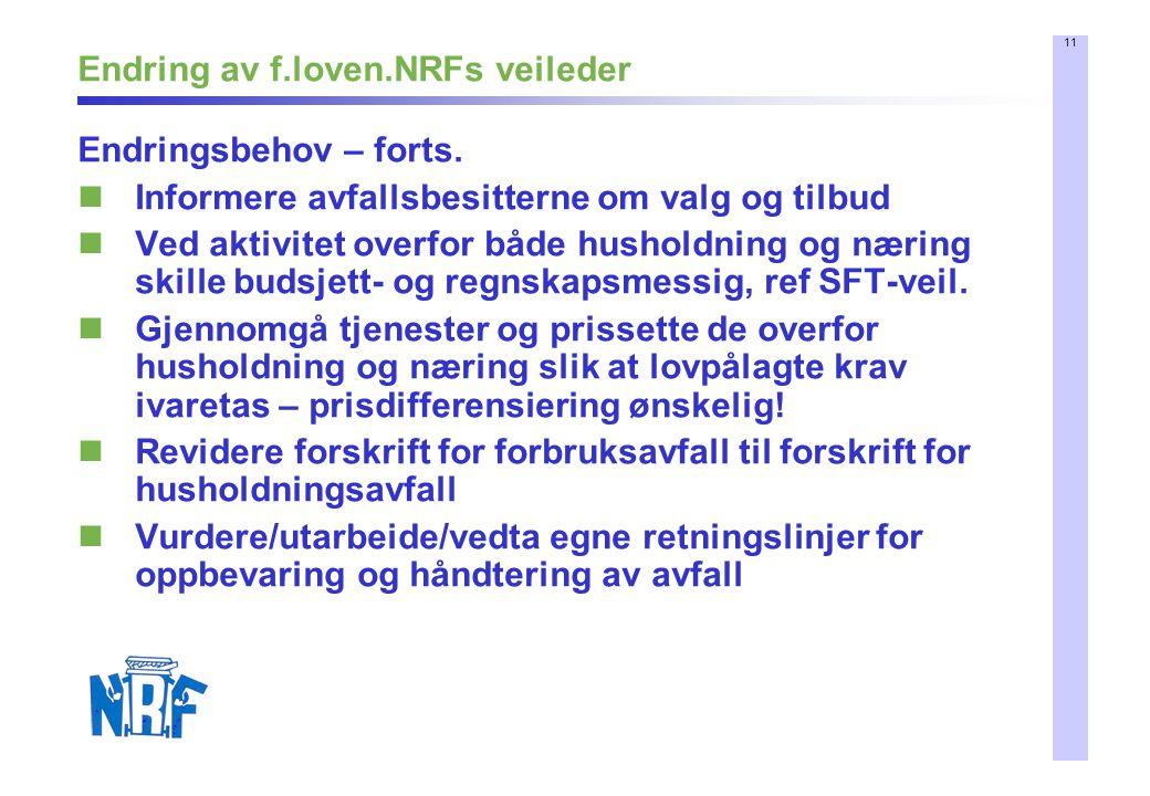 11 Endring av f.loven.NRFs veileder Endringsbehov – forts. Informere avfallsbesitterne om valg og tilbud Ved aktivitet overfor både husholdning og nær