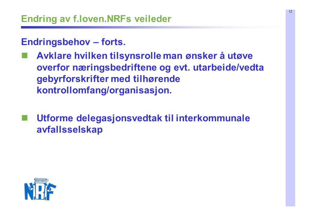 12 Endring av f.loven.NRFs veileder Endringsbehov – forts. Avklare hvilken tilsynsrolle man ønsker å utøve overfor næringsbedriftene og evt. utarbeide
