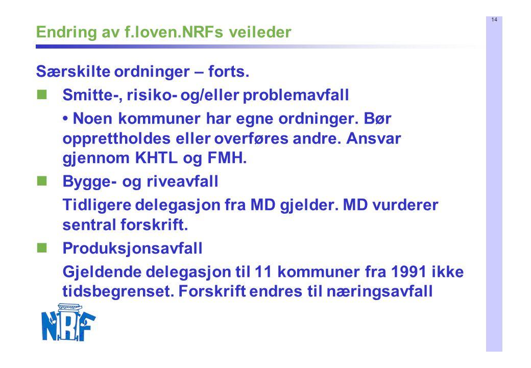 14 Endring av f.loven.NRFs veileder Særskilte ordninger – forts. Smitte-, risiko- og/eller problemavfall Noen kommuner har egne ordninger. Bør opprett