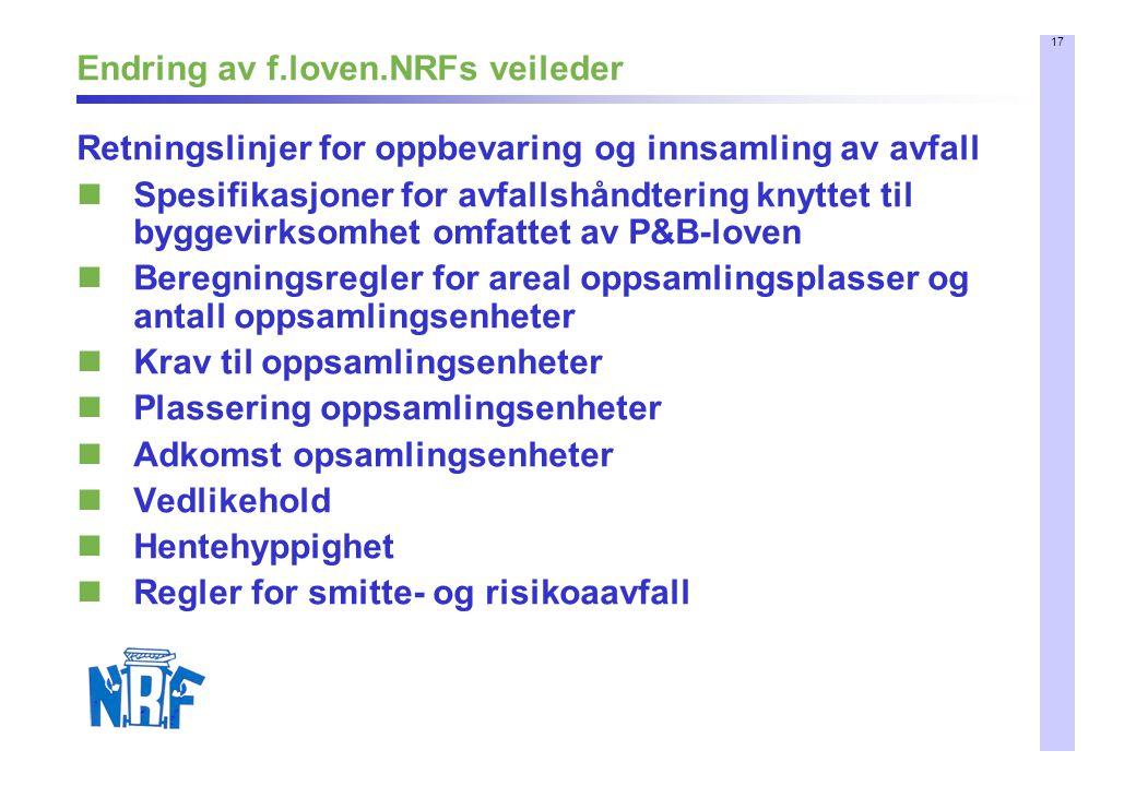 17 Endring av f.loven.NRFs veileder Retningslinjer for oppbevaring og innsamling av avfall Spesifikasjoner for avfallshåndtering knyttet til byggevirk
