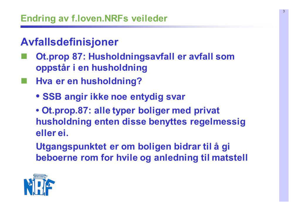 4 Endring av f.loven.NRFs veileder Avfallsdefinisjoner – forts.