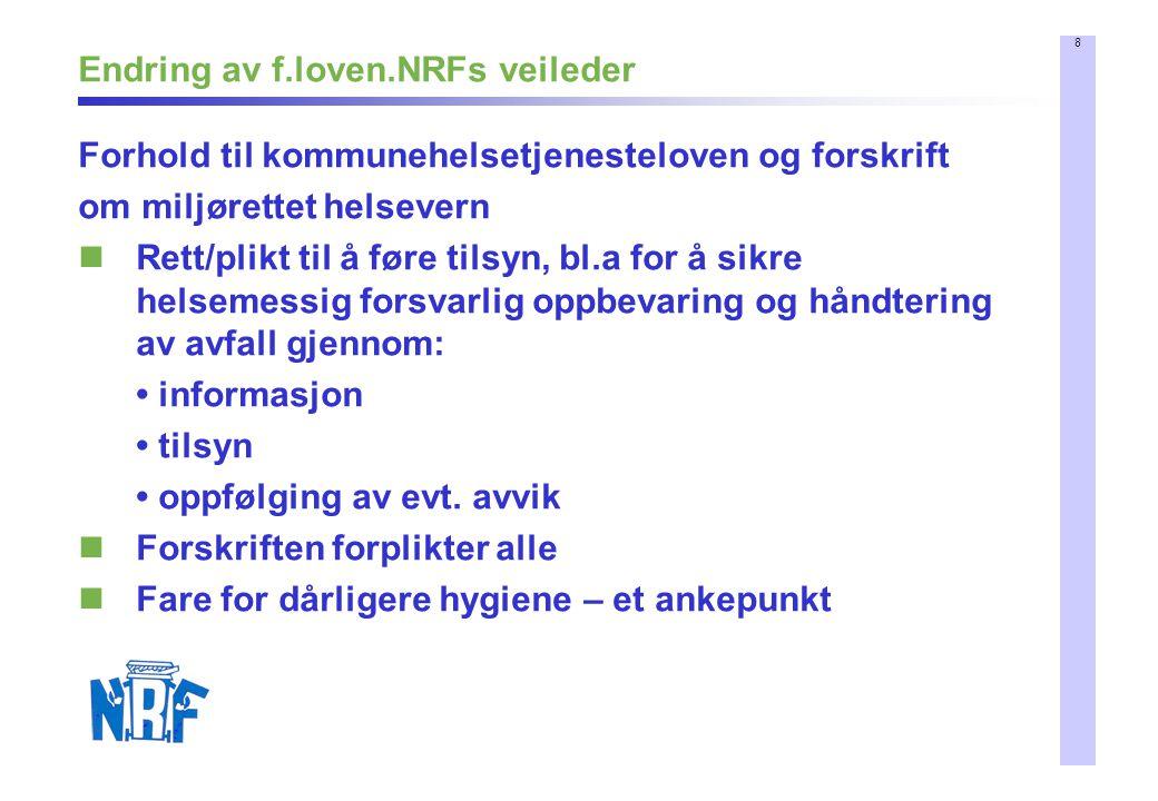 8 Endring av f.loven.NRFs veileder Forhold til kommunehelsetjenesteloven og forskrift om miljørettet helsevern Rett/plikt til å føre tilsyn, bl.a for