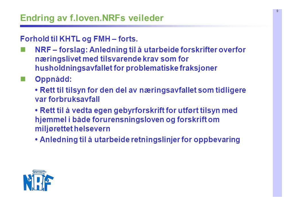 9 Endring av f.loven.NRFs veileder Forhold til KHTL og FMH – forts. NRF – forslag: Anledning til å utarbeide forskrifter overfor næringslivet med tils