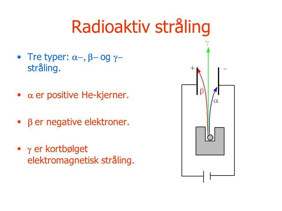 Radioaktiv stråling Tre typer:  og  stråling.   er positive He-kjerner.   er negative elektroner.   er kortbølget elektromagnetisk st