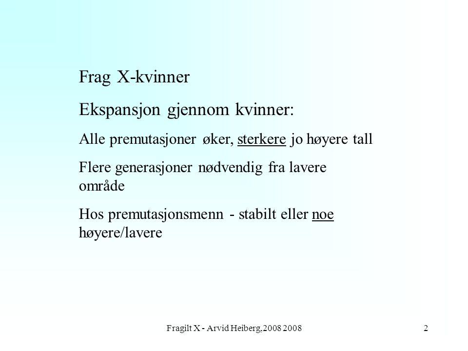 Fragilt X - Arvid Heiberg,2008 20083 Utvikling av Frag X Antall med fullmutasjon fra 644 mødre (korrigert) med 478 barn Mors antall%fullmutasjon 55-59 4 60-69 5 70-7931 80-8958 90-9980 100-109 og høyere 100
