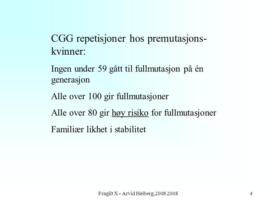 Fragilt X - Arvid Heiberg,2008 20084 CGG repetisjoner hos premutasjons- kvinner: Ingen under 59 gått til fullmutasjon på én generasjon Alle over 100 g
