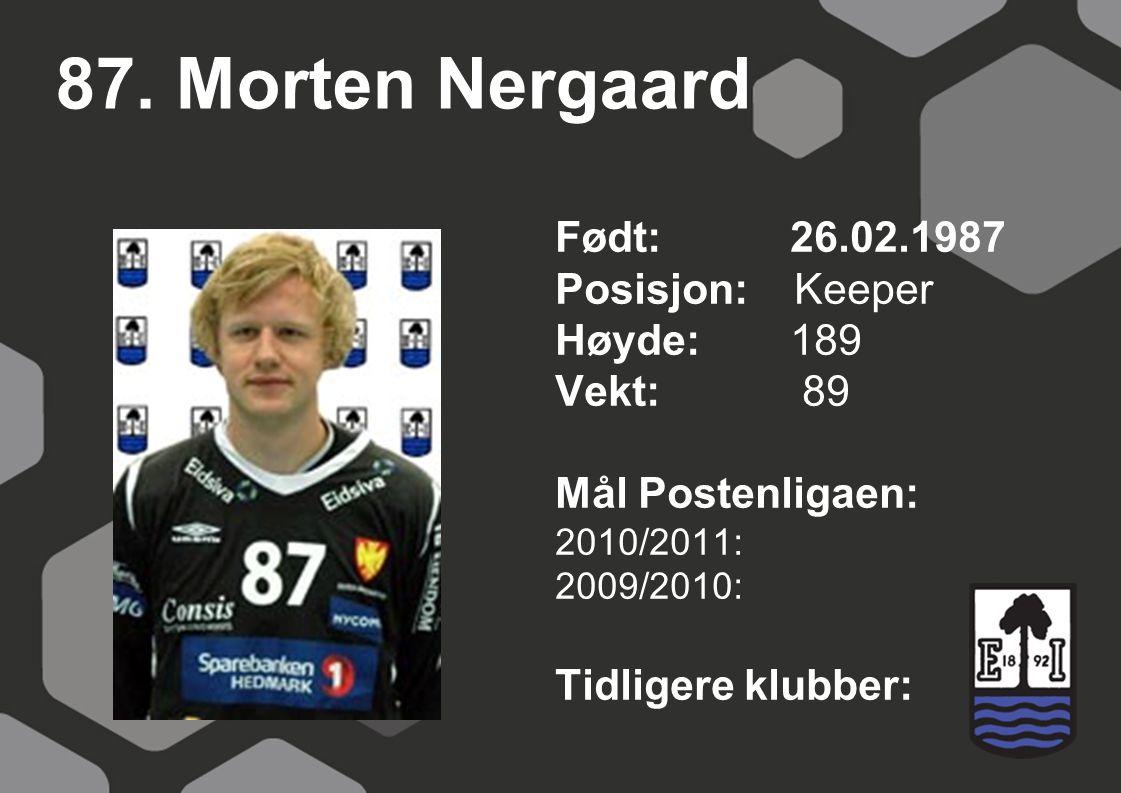 87. Morten Nergaard Født: 26.02.1987 Posisjon: Keeper Høyde:189 Vekt: 89 Mål Postenligaen: 2010/2011: 2009/2010: Tidligere klubber: