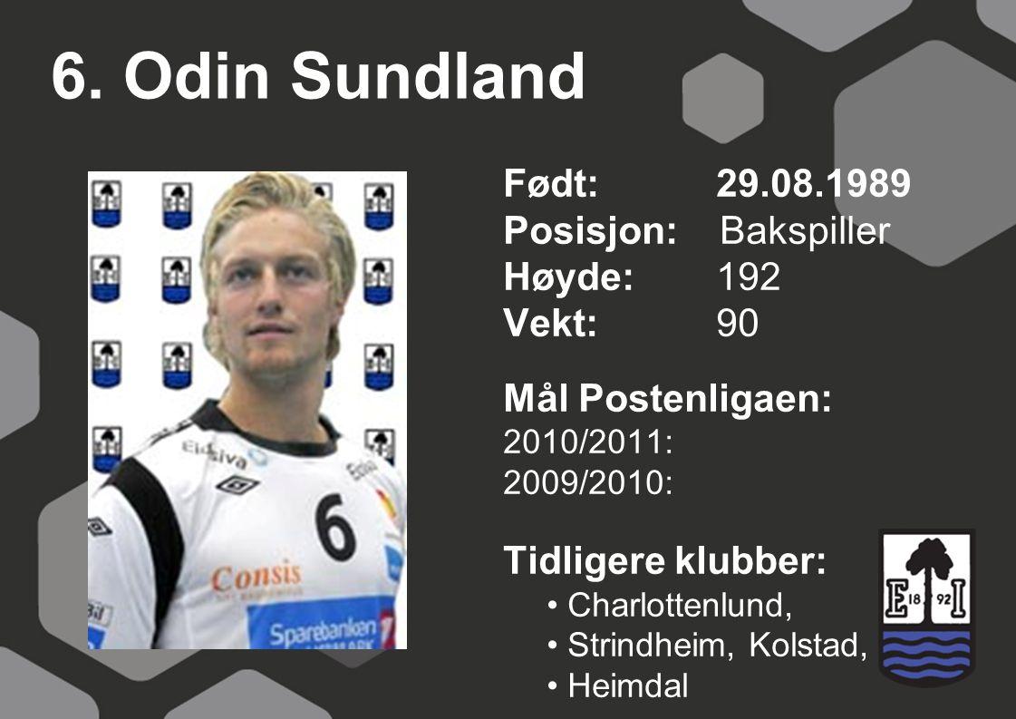 6. Odin Sundland Født: 29.08.1989 Posisjon: Bakspiller Høyde:192 Vekt:90 Mål Postenligaen: 2010/2011: 2009/2010: Tidligere klubber: Charlottenlund, St