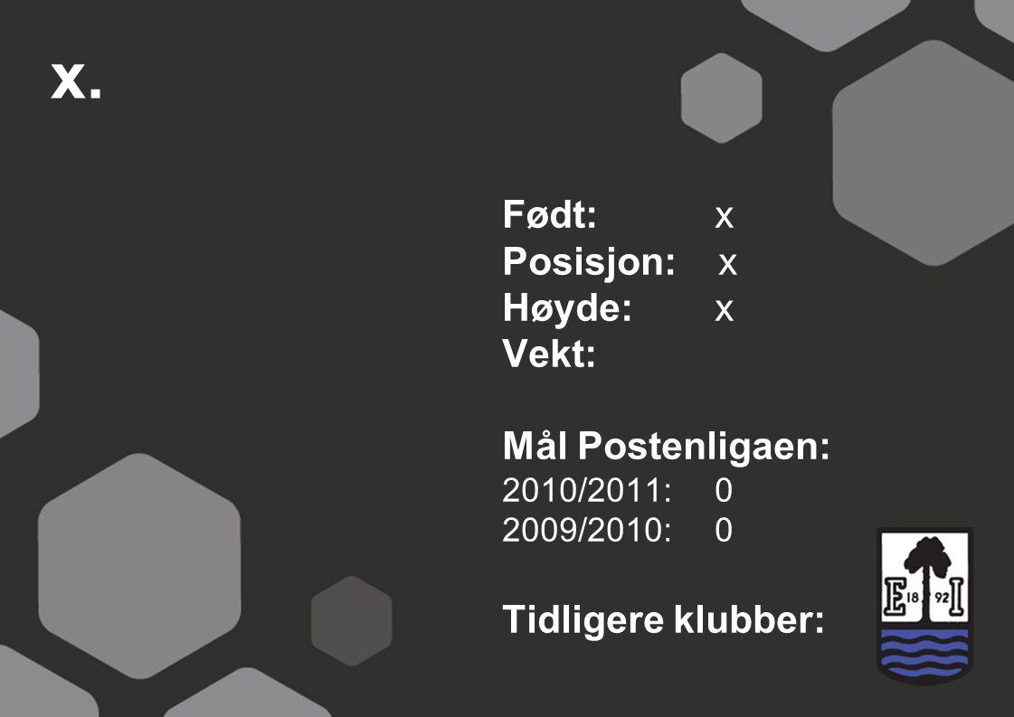x. Født: x Posisjon: x Høyde:x Vekt: Mål Postenligaen: 2010/2011: 0 2009/2010: 0 Tidligere klubber: