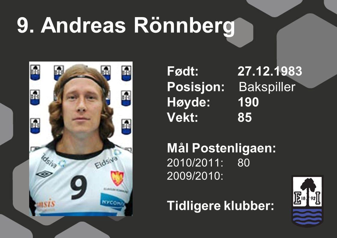 9. Andreas Rönnberg Født: 27.12.1983 Posisjon: Bakspiller Høyde:190 Vekt:85 Mål Postenligaen: 2010/2011: 80 2009/2010: Tidligere klubber: