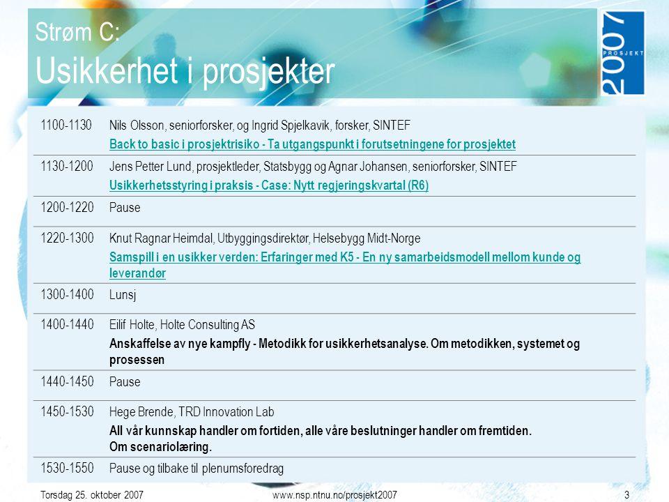 Torsdag 25. oktober 2007www.nsp.ntnu.no/prosjekt20073 Strøm C: Usikkerhet i prosjekter 1100-1130Nils Olsson, seniorforsker, og Ingrid Spjelkavik, fors