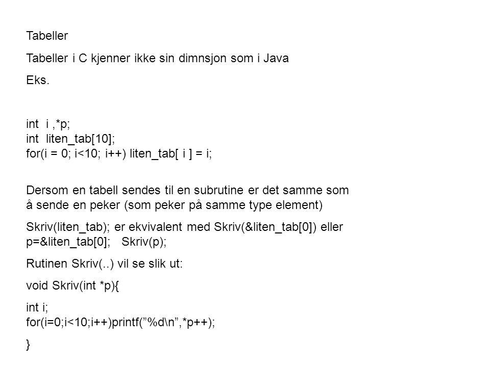 Tabeller Tabeller i C kjenner ikke sin dimnsjon som i Java Eks.