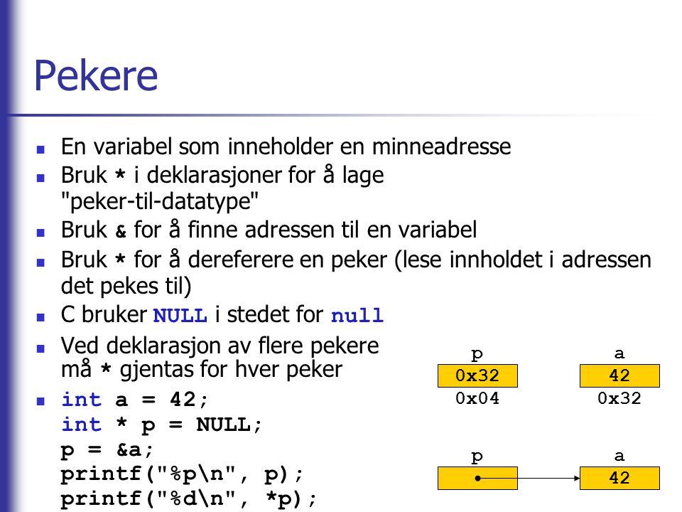 Pekere En variabel som inneholder en minneadresse Bruk * i deklarasjoner for å lage