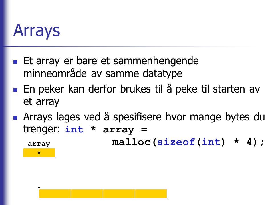 Arrays Et array er bare et sammenhengende minneområde av samme datatype En peker kan derfor brukes til å peke til starten av et array Arrays lages ved