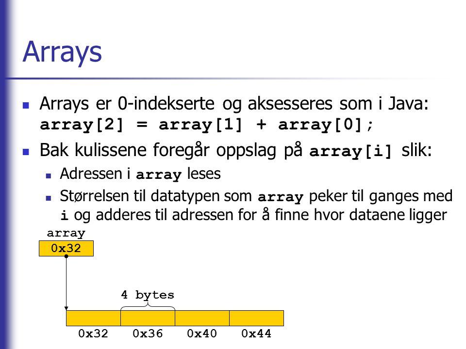 Arrays Arrays er 0-indekserte og aksesseres som i Java: array[2] = array[1] + array[0]; Bak kulissene foregår oppslag på array[i] slik: Adressen i arr