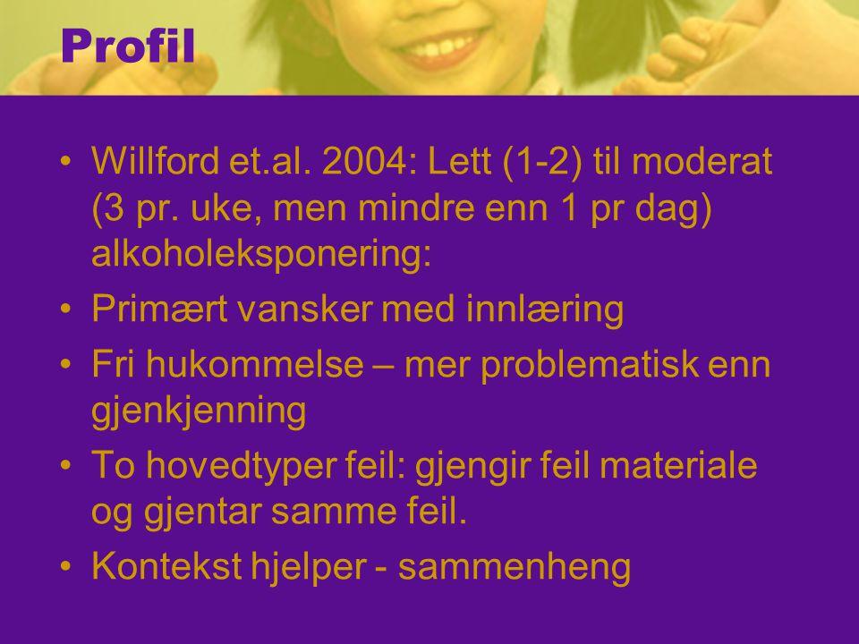 Profil Willford et.al.2004: Lett (1-2) til moderat (3 pr.