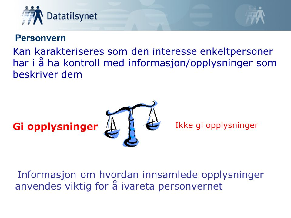 Personvern Kan karakteriseres som den interesse enkeltpersoner har i å ha kontroll med informasjon/opplysninger som beskriver dem Informasjon om hvordan innsamlede opplysninger anvendes viktig for å ivareta personvernet Gi opplysninger Ikke gi opplysninger