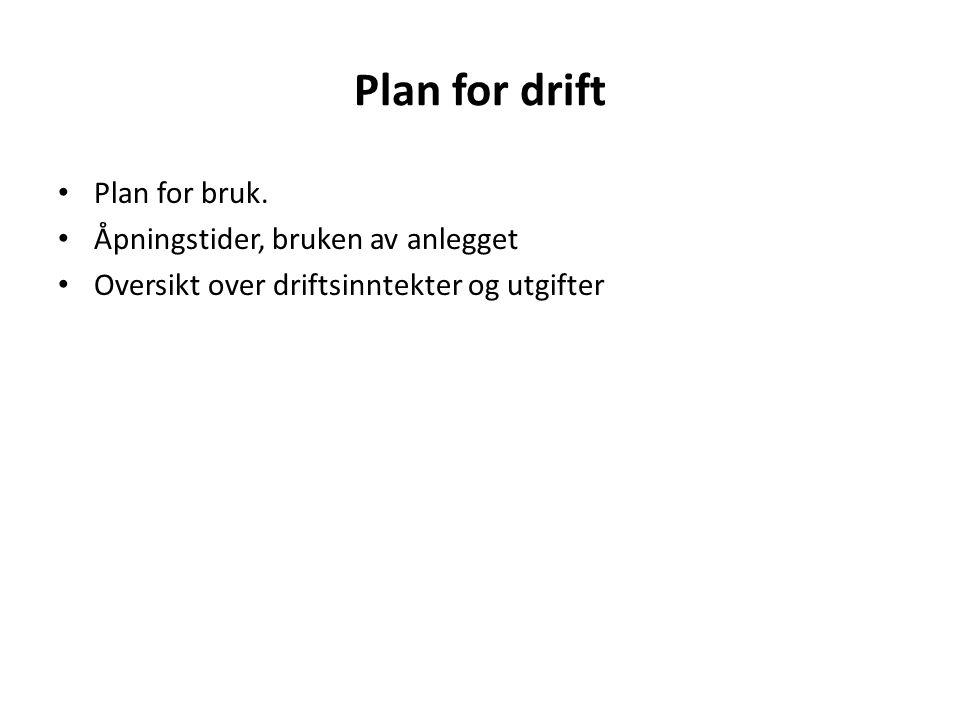 Plan for drift Plan for bruk. Åpningstider, bruken av anlegget Oversikt over driftsinntekter og utgifter
