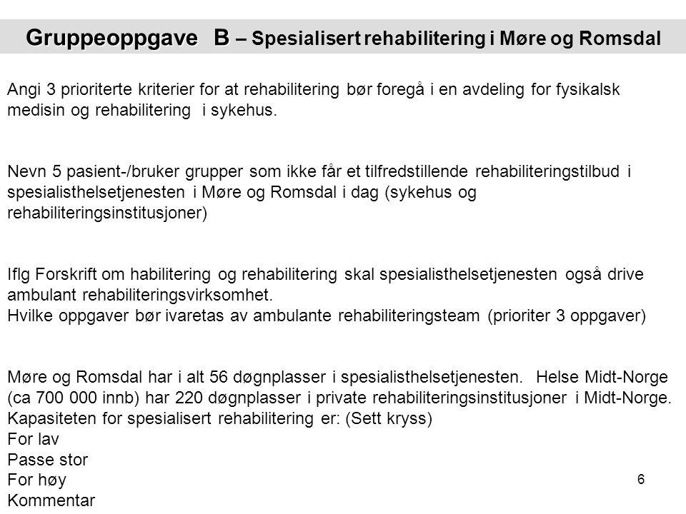 6 Angi 3 prioriterte kriterier for at rehabilitering bør foregå i en avdeling for fysikalsk medisin og rehabilitering i sykehus. Nevn 5 pasient-/bruke