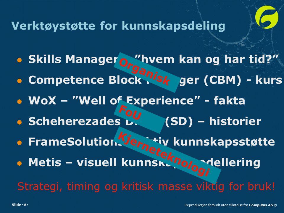 """Slide 12Reproduksjon forbudt uten tillatelse fra Computas AS © Verktøystøtte for kunnskapsdeling Skills Manager – """"hvem kan og har tid?"""" Competence Bl"""
