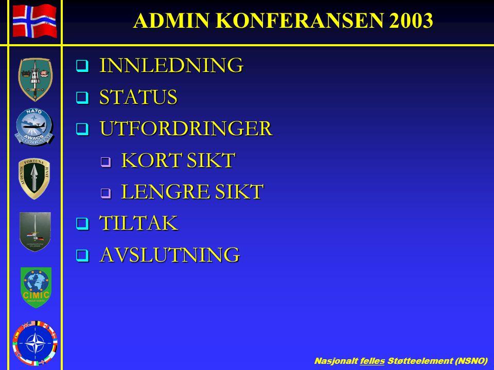 Nasjonalt felles Støtteelement (NSNO) ADMIN KONFERANSEN 2003  INNLEDNING  STATUS  UTFORDRINGER  KORT SIKT  LENGRE SIKT  TILTAK  AVSLUTNING