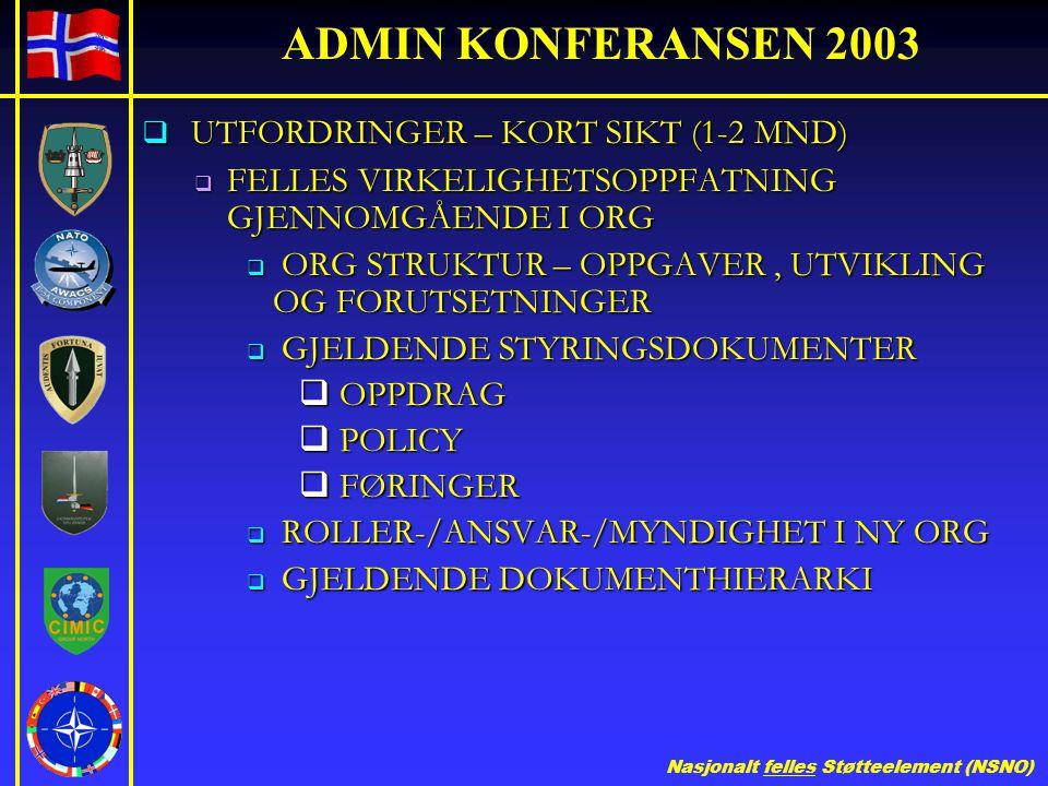 Nasjonalt felles Støtteelement (NSNO) ADMIN KONFERANSEN 2003  UTFORDRINGER – KORT SIKT (1-2 MND)  FELLES VIRKELIGHETSOPPFATNING GJENNOMGÅENDE I ORG