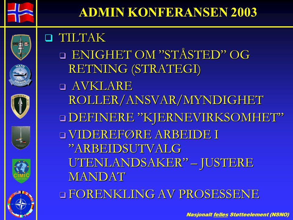 """Nasjonalt felles Støtteelement (NSNO) ADMIN KONFERANSEN 2003  TILTAK  ENIGHET OM """"STÅSTED"""" OG RETNING (STRATEGI)  AVKLARE ROLLER/ANSVAR/MYNDIGHET """