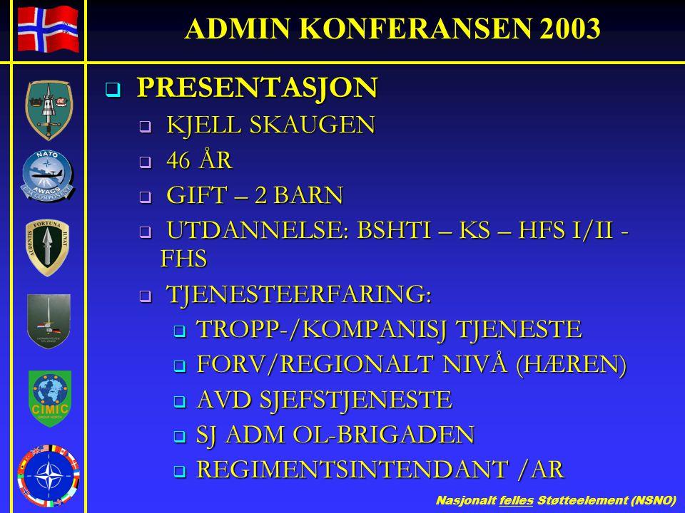 Nasjonalt felles Støtteelement (NSNO) ADMIN KONFERANSEN 2003  PRESENTASJON  KJELL SKAUGEN  46 ÅR  GIFT – 2 BARN  UTDANNELSE: BSHTI – KS – HFS I/I