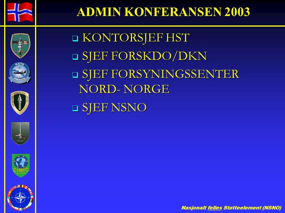 Nasjonalt felles Støtteelement (NSNO) ADMIN KONFERANSEN 2003  KONTORSJEF HST  SJEF FORSKDO/DKN  SJEF FORSYNINGSSENTER NORD- NORGE  SJEF NSNO