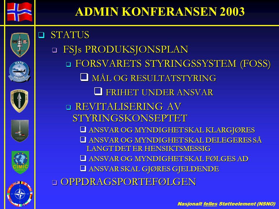 Nasjonalt felles Støtteelement (NSNO) ADMIN KONFERANSEN 2003  STATUS  FSJs PRODUKSJONSPLAN  FORSVARETS STYRINGSSYSTEM (FOSS)  MÅL OG RESULTATSTYRI
