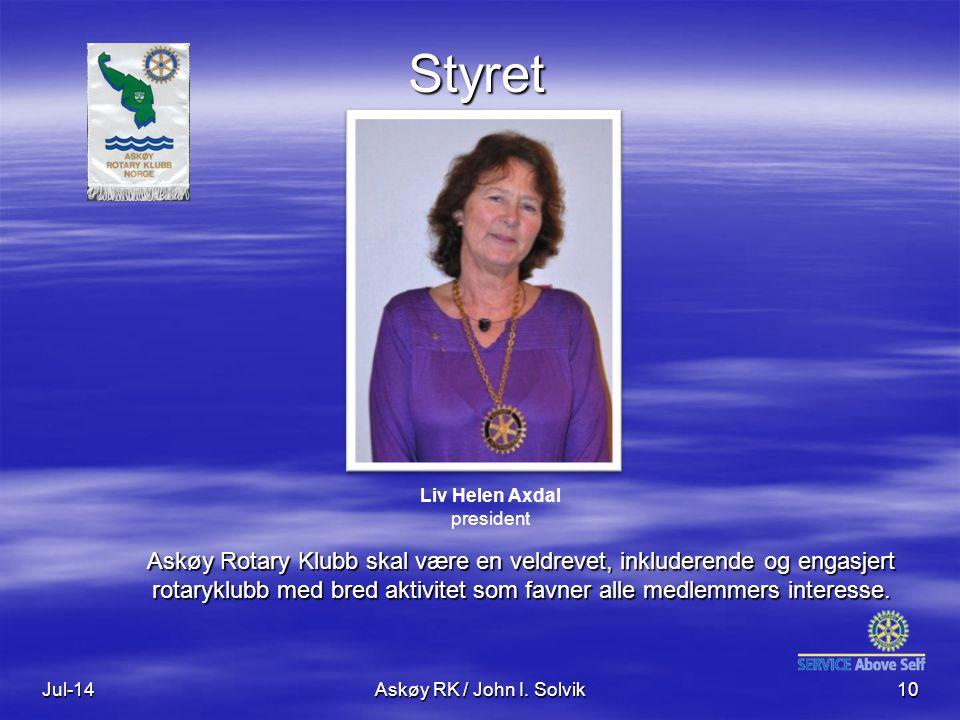 Jul-14Askøy RK / John I. Solvik10 Styret Askøy Rotary Klubb skal være en veldrevet, inkluderende og engasjert rotaryklubb med bred aktivitet som favne