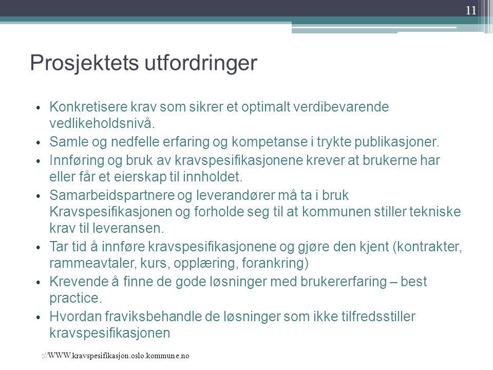 ://WWW.kravspesifikasjon.oslo.kommune.no Prosjektets utfordringer Konkretisere krav som sikrer et optimalt verdibevarende vedlikeholdsnivå. Samle og n