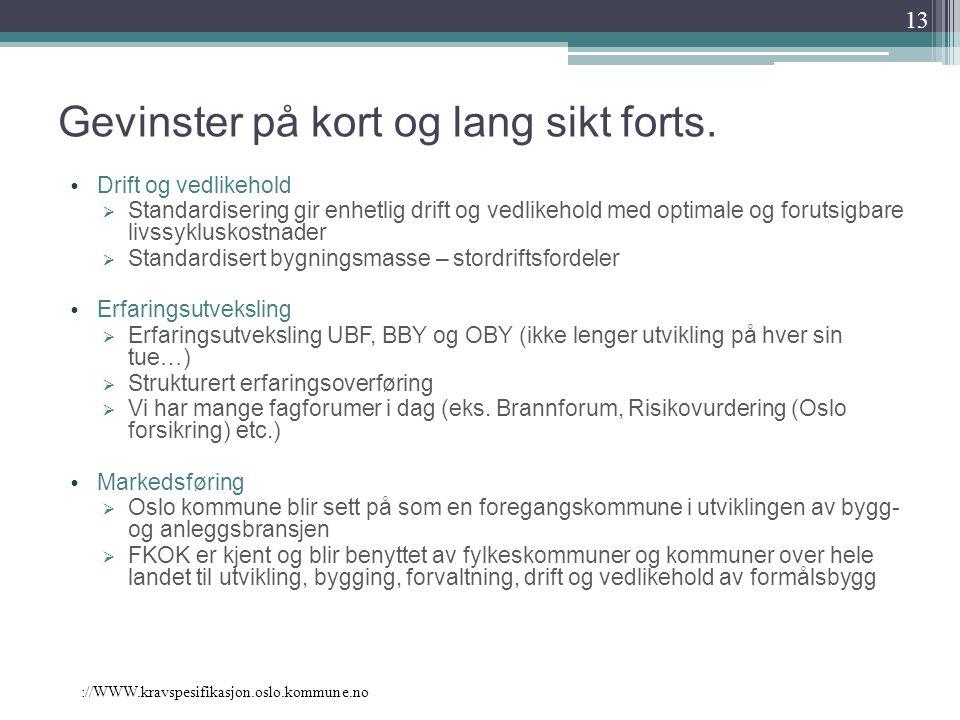 ://WWW.kravspesifikasjon.oslo.kommune.no Gevinster på kort og lang sikt forts. Drift og vedlikehold  Standardisering gir enhetlig drift og vedlikehol