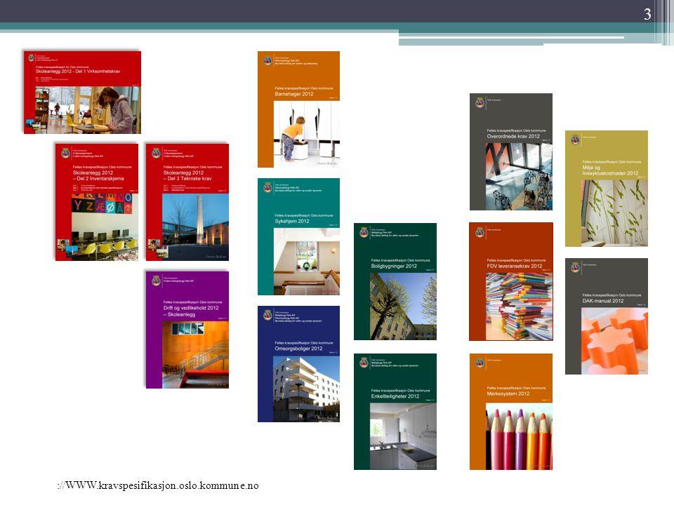 ://WWW.kravspesifikasjon.oslo.kommune.no Erfaringsoverføring  Bøkene i serien vil årlig eller etter behov gjennomgå en evaluering for å ivareta erfaringer fra gjennomføring av prosjekter, drift og bruk av byggene, samt bruk av bøkene.