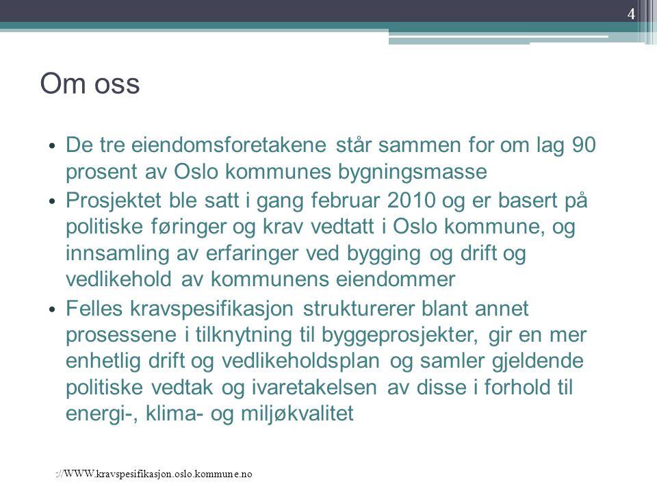 Om oss De tre eiendomsforetakene står sammen for om lag 90 prosent av Oslo kommunes bygningsmasse Prosjektet ble satt i gang februar 2010 og er basert