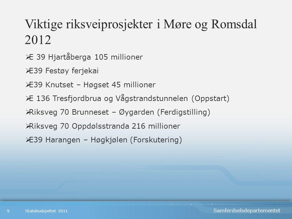 Viktige riksveiprosjekter i Møre og Romsdal 2012  E 39 Hjartåberga 105 millioner  E39 Festøy ferjekai  E39 Knutset – Høgset 45 millioner  E 136 Tresfjordbrua og Vågstrandstunnelen (Oppstart)  Riksveg 70 Brunneset – Øygarden (Ferdigstilling)  Riksveg 70 Oppdølsstranda 216 millioner  E39 Harangen – Høgkjølen (Forskutering) Statsbudsjettet 20119