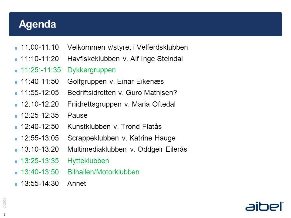 © 2008 2 Agenda 11:00-11:10Velkommen v/styret i Velferdsklubben 11:10-11:20Havfiskeklubben v.