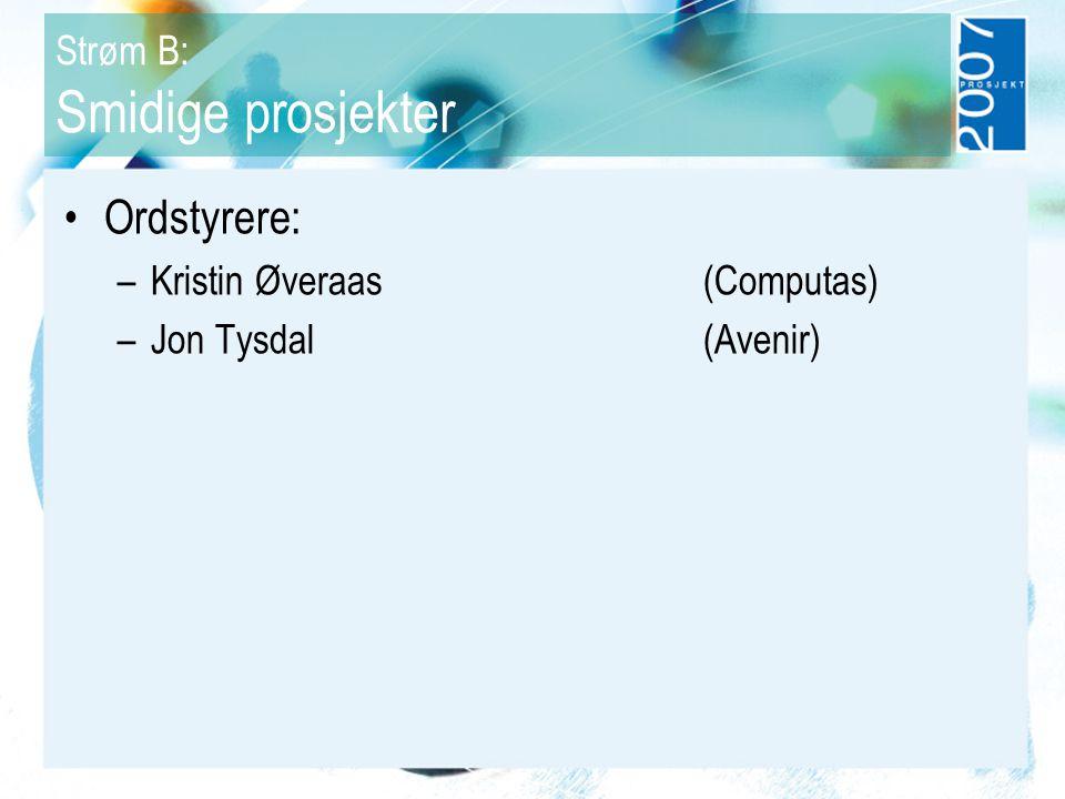 Strøm B: Smidige prosjekter Ordstyrere: –Kristin Øveraas (Computas) –Jon Tysdal (Avenir)