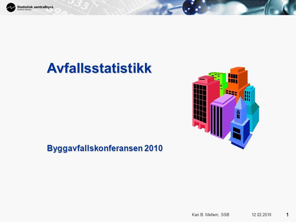1 Kari B. Mellem, SSB 1 12.02.2010 Avfallsstatistikk Byggavfallskonferansen 2010