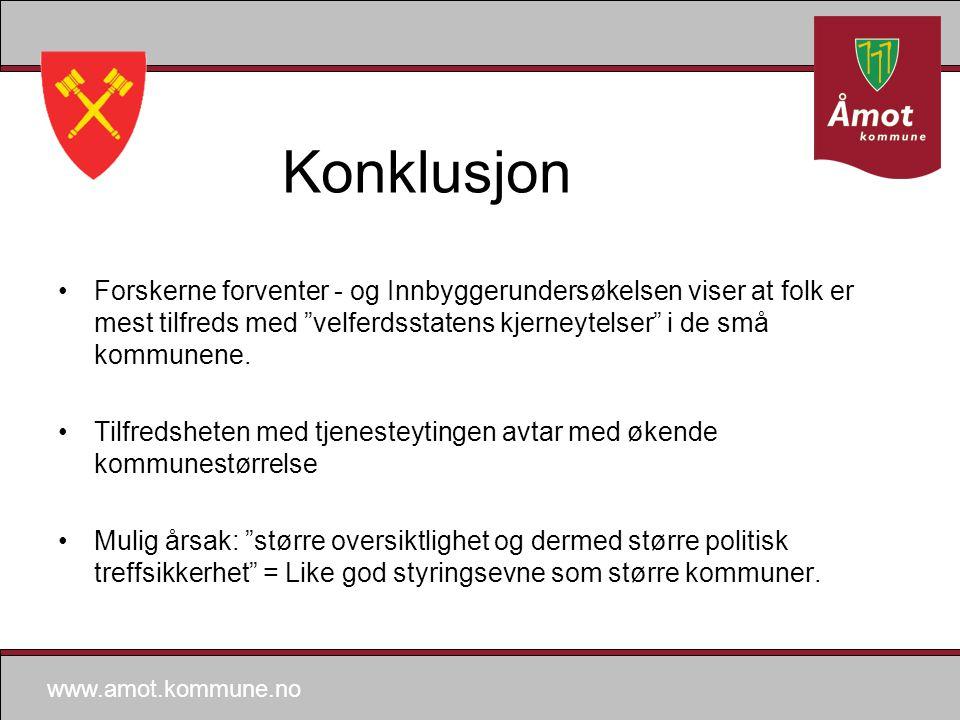 www.amot.kommune.no Konklusjon Forskerne forventer - og Innbyggerundersøkelsen viser at folk er mest tilfreds med velferdsstatens kjerneytelser i de små kommunene.