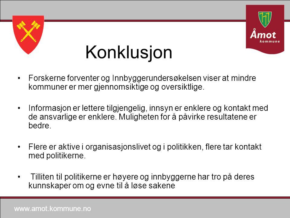 www.amot.kommune.no Konklusjon Forskerne forventer og Innbyggerundersøkelsen viser at mindre kommuner er mer gjennomsiktige og oversiktlige.