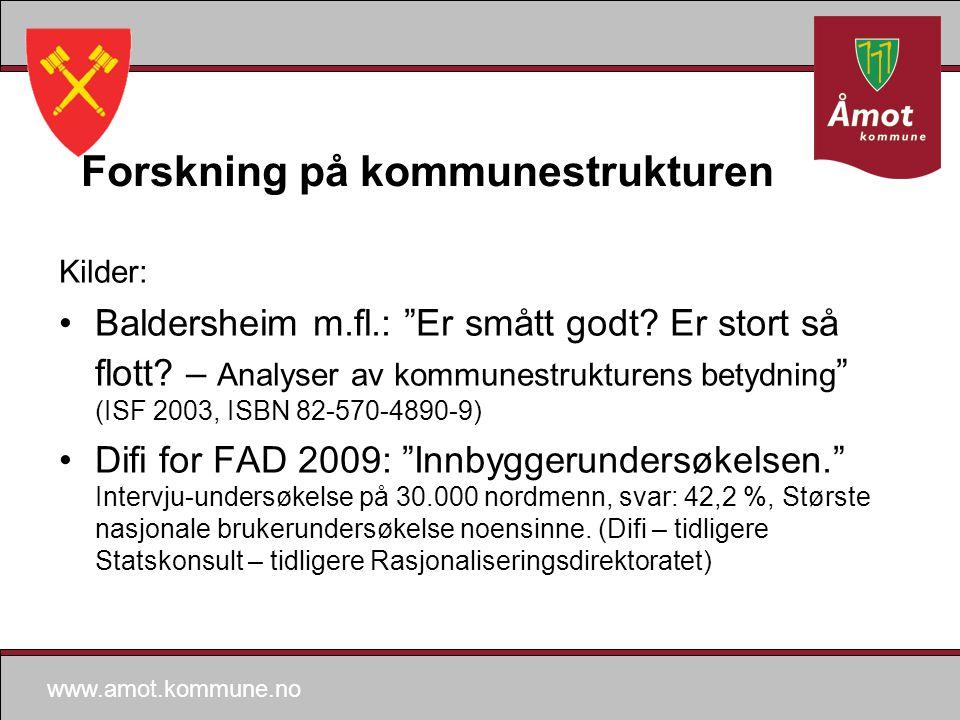 www.amot.kommune.no Forskning på kommunestrukturen Kilder: Baldersheim m.fl.: Er smått godt.
