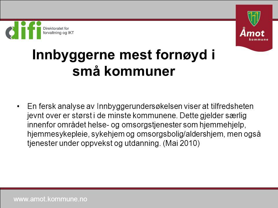 www.amot.kommune.no Innbyggerne mest fornøyd i små kommuner En fersk analyse av Innbyggerundersøkelsen viser at tilfredsheten jevnt over er størst i de minste kommunene.