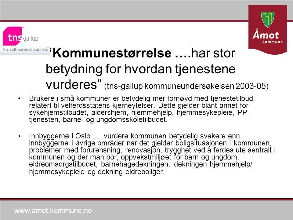 www.amot.kommune.no Kommunestørrelse ….har stor betydning for hvordan tjenestene vurderes (tns-gallup kommuneundersøkelsen 2003-05) Brukere i små kommuner er betydelig mer fornøyd med tjenestetilbud relatert til velferdsstatens kjerneytelser.